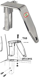 Camper Tie Down, chrome plated finish & mounting diagram / TDCP